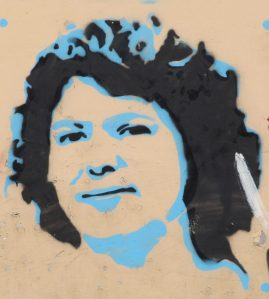 graffiti of berta caceres in the streets of tegucigalpa