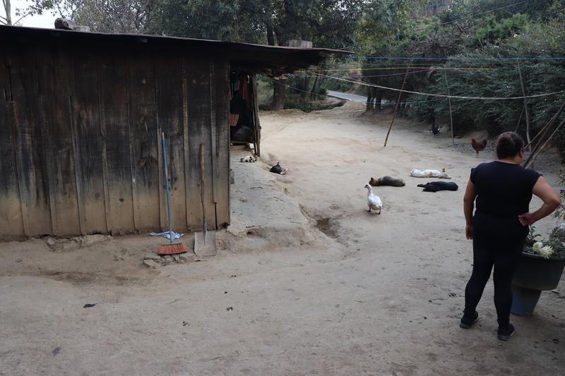 © Frauke Decoodt. Brendy Cuy Urizar fuera la casa donde creció su sobrina Yohanna. Guatemala 2020